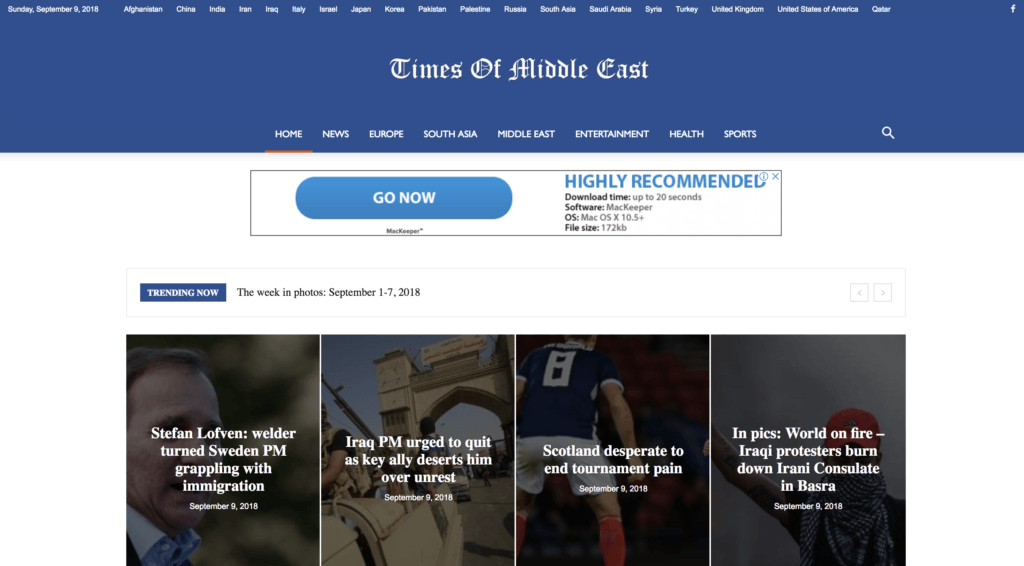Times of Middle East | Mobile Responsive News Website